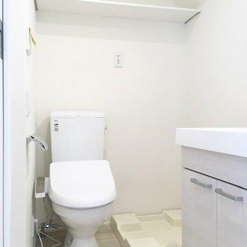 左を向くと、洗濯機置き場とトイレが。上部のラックにはトイレットペーパーや洗剤を。