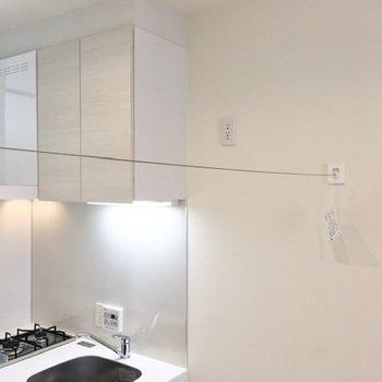 ワイヤーを使えば部屋干しが可能です。