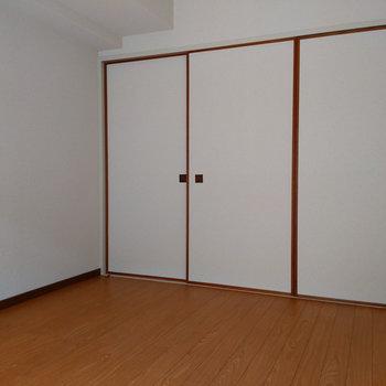 【西側洋室】こちらのお部屋は収納があるので寝室が良さそうです。
