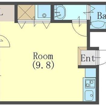 居室を設備が取り囲んでいるような間取り。小窓がいくつもあります!