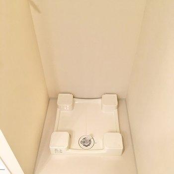 洗濯機置き場は同スペースに。