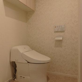 温水洗浄便座つきです。※写真は5階の同間取り別部屋のものです
