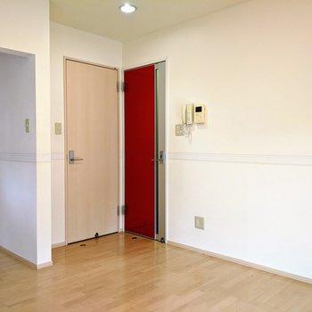 【リビング】玄関からの扉と脱衣所に入る扉は同時に開けると当たってしまいます。ご注意ください。