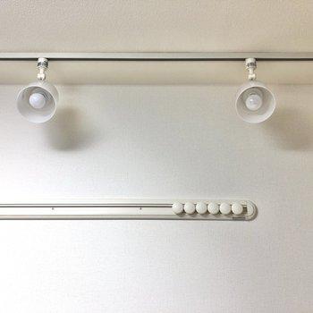 こちらの壁にはフックレールとライティングレールが。明かりをスポットライトだけにすると落ち着きのある空間になるんです!