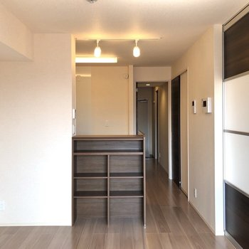 【LDK】キッチンカウンターしたにはちょっとした収納が。天井にはスポットライトもあります。