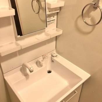 洗面台にはコンセントやタオル掛けなども。