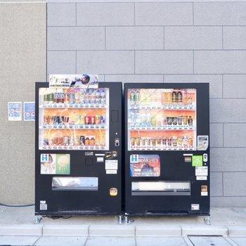 建物横に自動販売機もありました。たまにジュースが飲みたくなったときなど便利そうですよ。