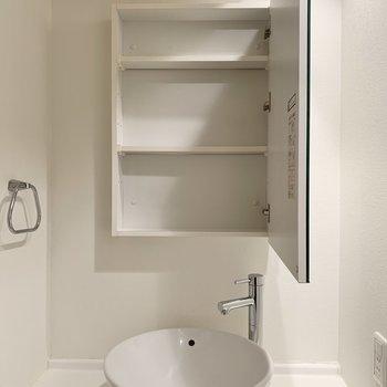 歯ブラシや洗面用具はこちらに。※写真は8階の同間取り別部屋のものです