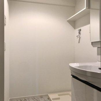 続いてサニタリー。洗濯機上の棚が便利です(※写真は5階の同間取り別部屋のものです)