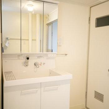 洗面台も新しいものになっています。デザインがいいですね!※画像は同カラー・同間取り(反転タイプ)の別室です。