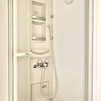 浴槽はなく、トイレから続く形でシャワールームがあります。※写真は通電前のものです