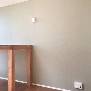 爽やかなグリーンのクロスが施されています。※写真は3階の同間取り別部屋のものです