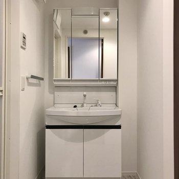 スタイリッシュな洗面台。3面鏡の裏は収納でした!(※写真は5階の同間取り別部屋のものです)
