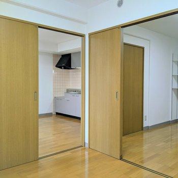 【4.8帖洋室】左側の扉はダイニング、右側の扉は約6.6帖の洋室につながっています。