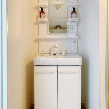 独立洗面台は収納も多いので、助かります◎