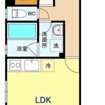 メリハリのある暮らしが送れそうな1LDKの角部屋です。
