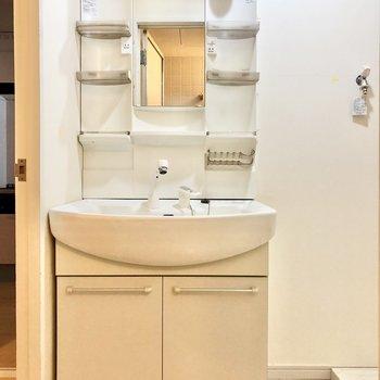 割と横幅のある独立洗面台。(※写真は清掃前のものです)