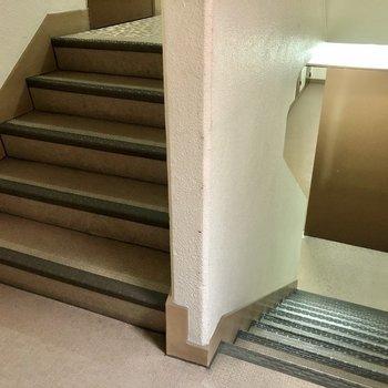 共用階段。のぼった先のすぐのお部屋です!