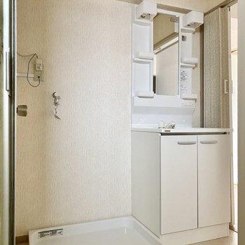 脱衣所。機能的でシンプルなデザイン。