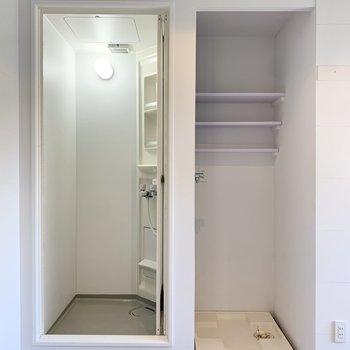 シャワールームと洗濯機置き場は居室に面しています。