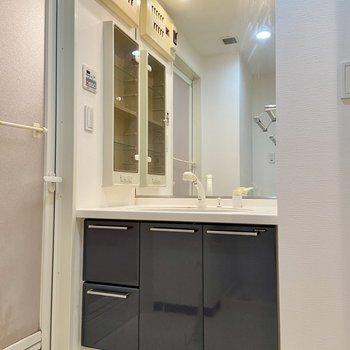 向かいには鏡が大きい独立洗面台。身だしなみはここで。※写真はクリーニング前のものです