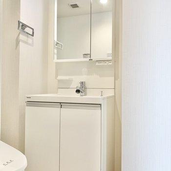 鏡が大きくてスタイリングがしやすい洗面台。