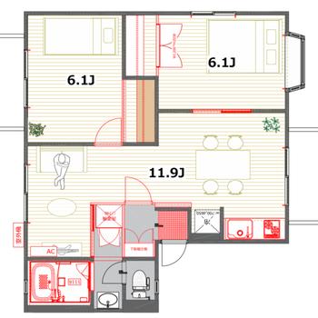 それぞれの空間をうまく使い分けられそうな、ふたり暮らしにおすすめの2LDKです