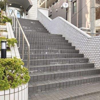 エレベータまではこの階段をのぼって。