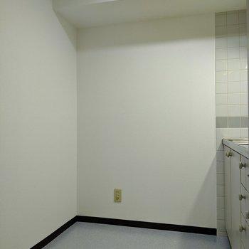 キッチンは広めです。冷蔵庫の他に棚を置いて家電を収納すると良さそうですよ。