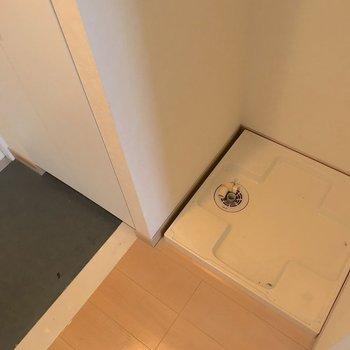 洗濯機は玄関の横に。※写真は4階の同間取り別部屋のものです
