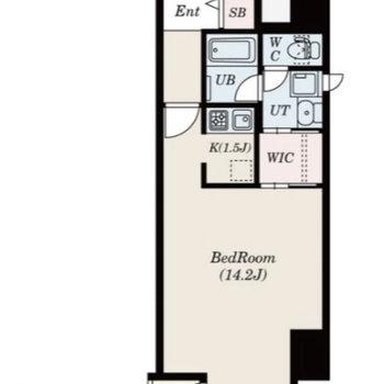 お部屋は1Kの間取りです。洋室は広々14.2帖。