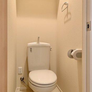 トイレは落ち着く個室。上部には棚も。