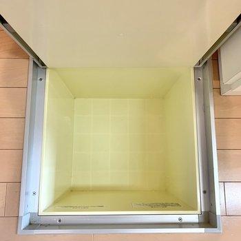 玄関そばにも床下収納。普段あまり使わないケア用品を入れるのにいいかな。