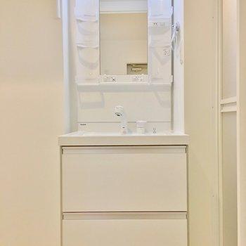 洗面台はシンプルに。(※写真は1階の反転間取り別部屋のものです)