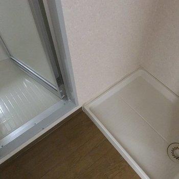 洗濯機置き場はお風呂前の脱衣所に。※写真は3階の同間取り別部屋のものです
