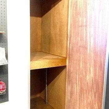 隣には収納があります。奥行きがあるので収納ケースを活用できますよ。