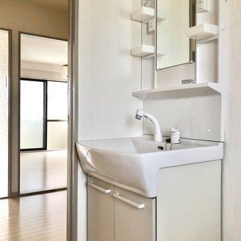 独立洗面台があるので身支度もしやすいですね。