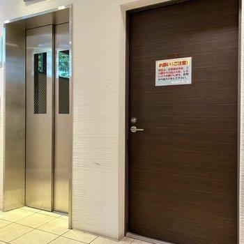 移動はエレベーターで。