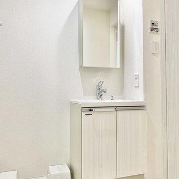 鏡の中は収納になってますよ。横には洗濯機置き場があります。※写真は6階の同間取り別部屋のものです