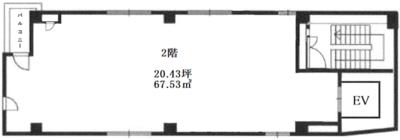 五反田 20.43坪 オフィス の間取り