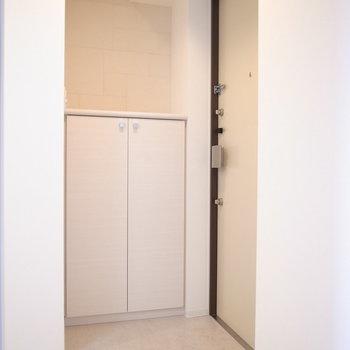 玄関のたたきは段差がほとんどないので、土埃などにご注意を。(※写真は8階の同間取り別部屋のものです)