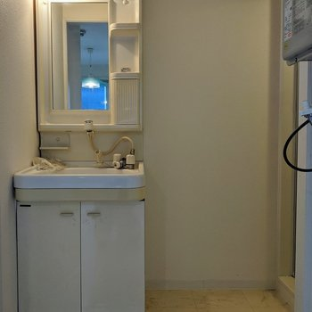 洗面所には扉がありません。突っ張り棒を使ってカーテンを掛けると良いですね〜。※写真はクリーニング前のものです