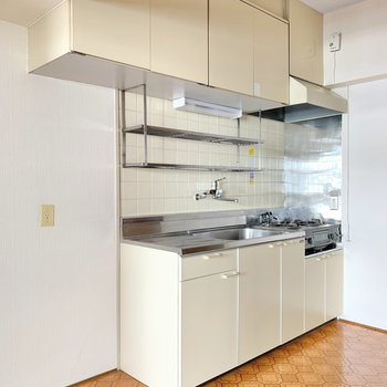 キッチンは大きめ。隣に冷蔵庫を置きましょ。