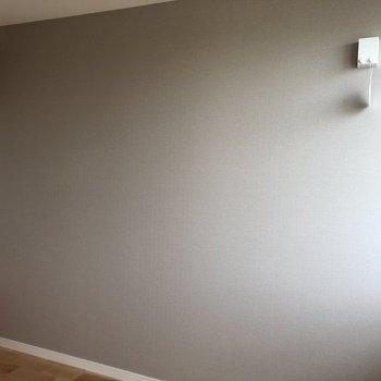グレーの壁には物干しロープが設置されています。