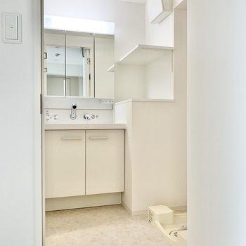 独立洗面台の横には洗濯機置き場があります。