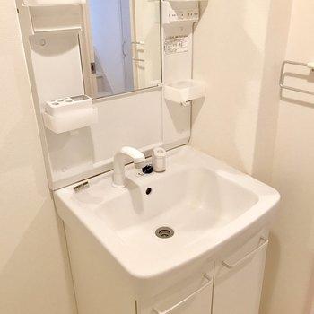 洗面台もあります(※写真は1階の同間取り別部屋のものです)
