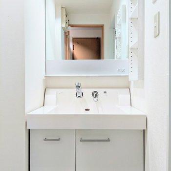 大きな鏡のある独立式洗面台です。