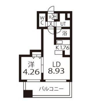 寝室と生活スペースを分けやすい1LDKのお部屋です。