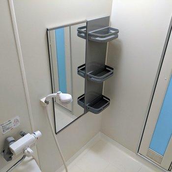 鏡と棚がついているのがうれしいですね。