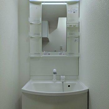 コンセント付き、独立洗面台。